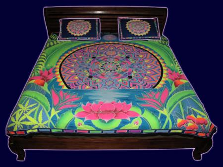 parure de lit 2 places psych d lique uv fluo mandala rising. Black Bedroom Furniture Sets. Home Design Ideas