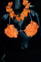Collier + soutient-gorge Hawaïen fluo orange