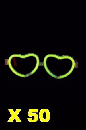 Kit de 50 lunettes coeur lumineuses jaune 2d99b40b7534