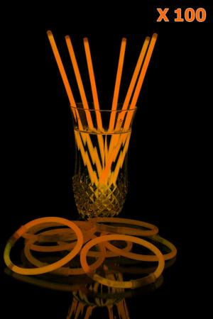 Bracelets lumineux orange X100