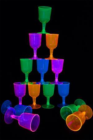 12 verres a pieds fluo 16cl