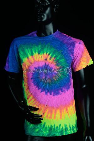 T shirt UV neon Tie Dye rainbow M