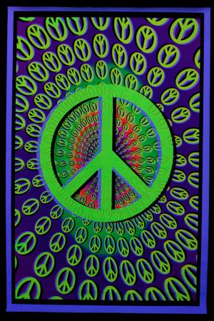 Blacklight Poster : Peace and love