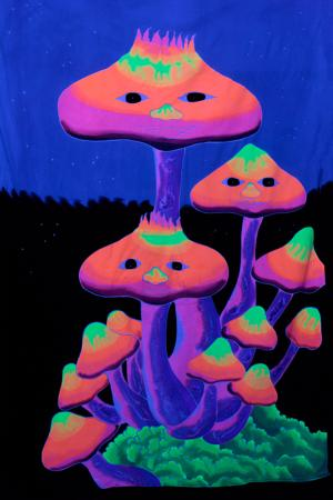 Tenture fluo UV Mushrooms night