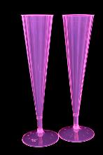 10 coupes champagne rose fluo UV 15cl