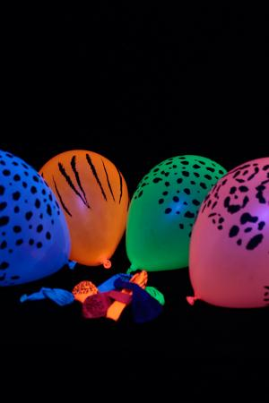 50 Ballons Fluo Safari UV