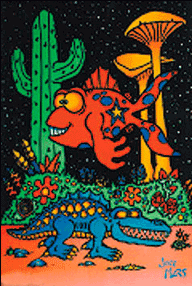 Poster psychedelic : poisson & alligator
