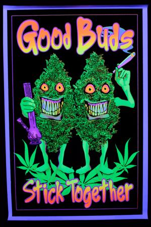 Poster fluo good buds stick together - Decoration chambre psychedelique ...